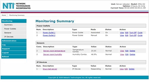 Secure Remote Power Reboot Web Interface Screen Shot
